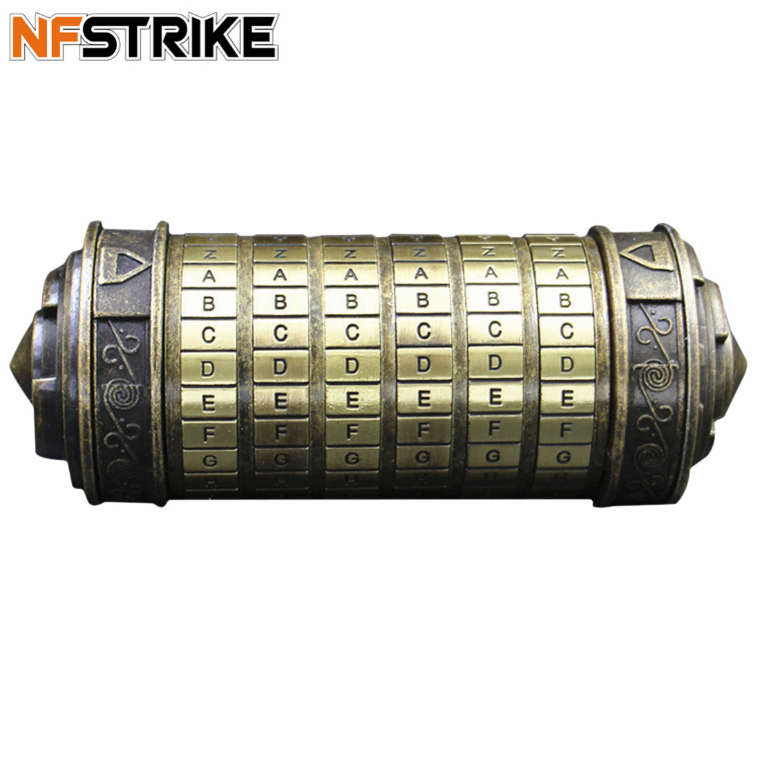 NFSTRIKE Bronze Cryptex Lock Da Vinci Code Creative Gift Educational Coded Lock Toy Puzzles for Kids Adults Children Toys Kit-in Puzzles from Toys & Hobbies    1