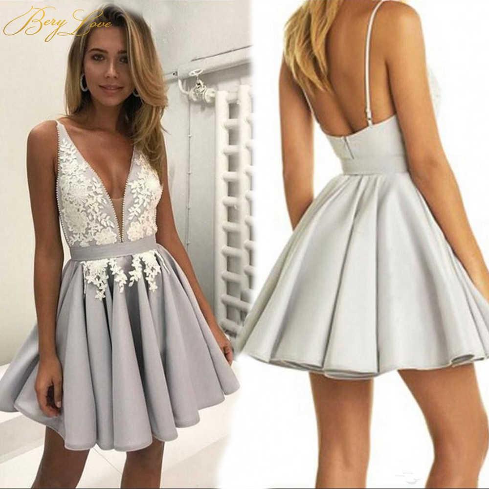 BeryLove קצר רסיס שיבה הביתה שמלת 2019 פניני V צוואר רשת תחרה מיני גריי צעיר ילדה שיבה הביתה שמלת קצר סיום בנות