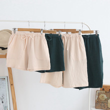 Spring and summer men's new style 100% cotton crepe shorts casual couple pajamas men and women solid color plus size home pants