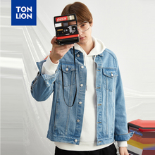 TONLION Spring Literary Denim Jacket Long Sleeves Men Jean Jackets Ribbon Decoration Korean Style Casual Tops Outerwear 2020 New