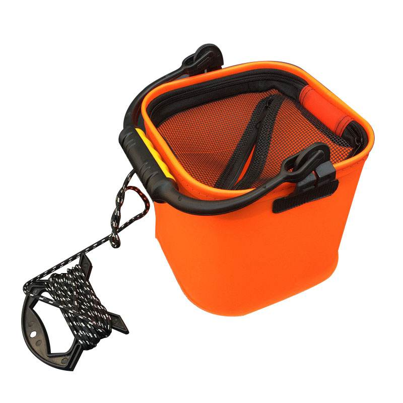 20 CM EVA Water Bucket with Rope Collapsible Bucket for Camping/Fishing Orange|Fishing Tackle Boxes| |  - title=