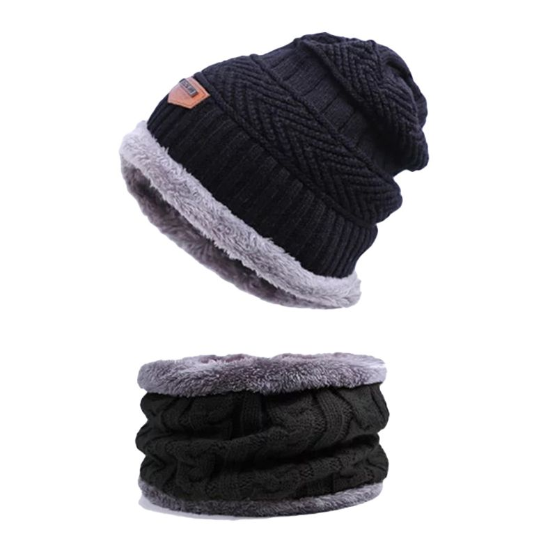 Men Women Winter Warm Beanie Hat +Scarf Set Warm Knit Thick Fleece Lined Caps