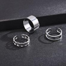 Traje de Hip Hop anillo para hombre estilo Punk mujeres accesorios para fiesta, joyería anillo personalidad Tres dedos unidos cadena anillo nueva tendencia
