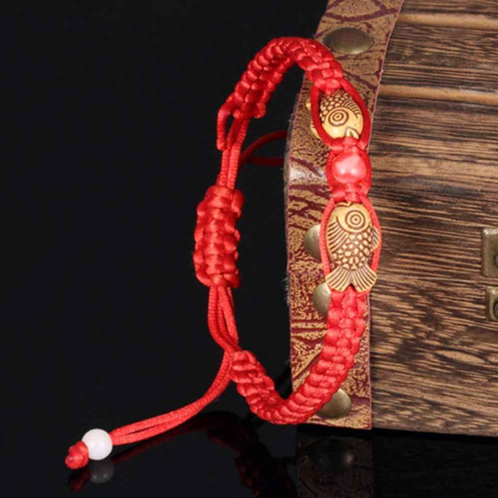 Feng Shui kırmızı dize şanslı ahşap çift Charm bilezik balık erkekler kadınlar için iyi şanslar servet charm bilezikler Dropshipping
