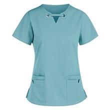 Healthcare Workwear Classic V-neck Nursing Tops Women Pharmacy Uniforms Solid Short Sleeve Blouse Blusas Mujer De Moda 2021