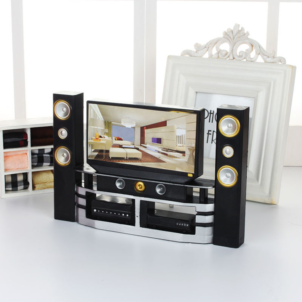 Mini DVD Hi-Fi TV Home Theater Cabinet Set Combo Toys Accessories For Doll Kid Play House Role Doll House Furniture