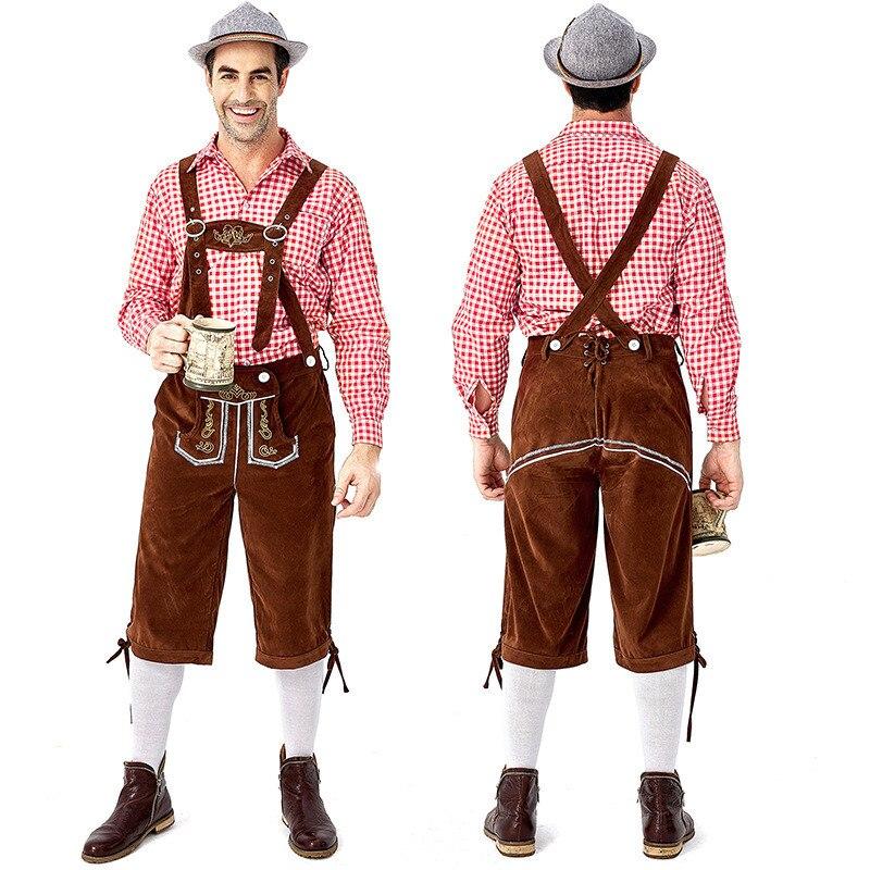 Men Oktoberfest Costume German Bavarian Lederhosen Beer Octoberfest Fancy Dress*