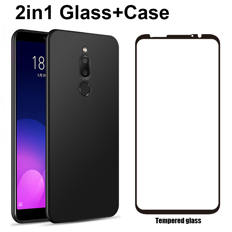 2in1 Matte Case + Glass Screen Protector Cover For <font><b>Meizu</b></font> Pro 6 7 15 <font><b>16</b></font> Plus 16X V8 X8 Note 8 9 Soft TPU Case + Tempered glass image
