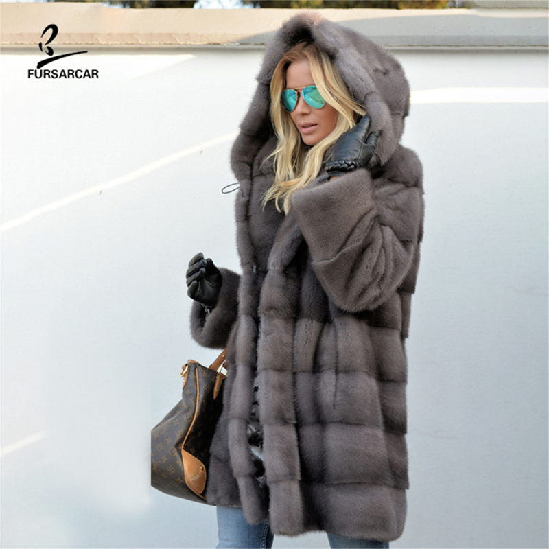 FURSARCAR 2019 New Women Fashion Winter Real Grey Mink Fur Coat Luxury Lady Genuine Natural Hooded Jacket And Female