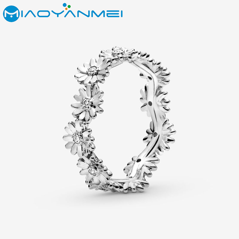 2020 Spring Fashion Jewelry 925 Sterling Silver Rings Pave Sparkling Daisy Flower Silvery Color Ring Flower Petals Band Rings