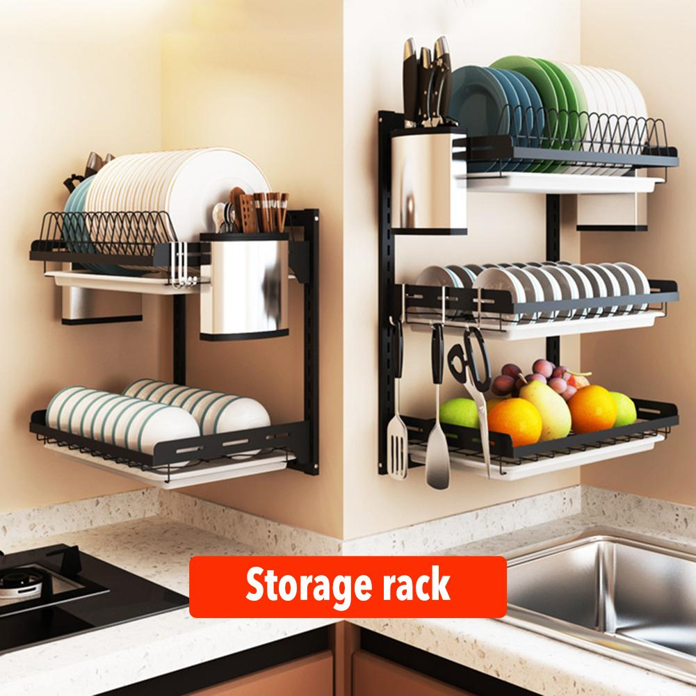 Stainless Steel Kitchen Bowl Rack 2/3 Tier Dish Drainer Drying Rack Bowl Dish Draining Shelf Kitchen Wall-mounted Storage Rack