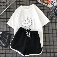 MILINSUS New 2019 summer Plus size Women sets print T shirts