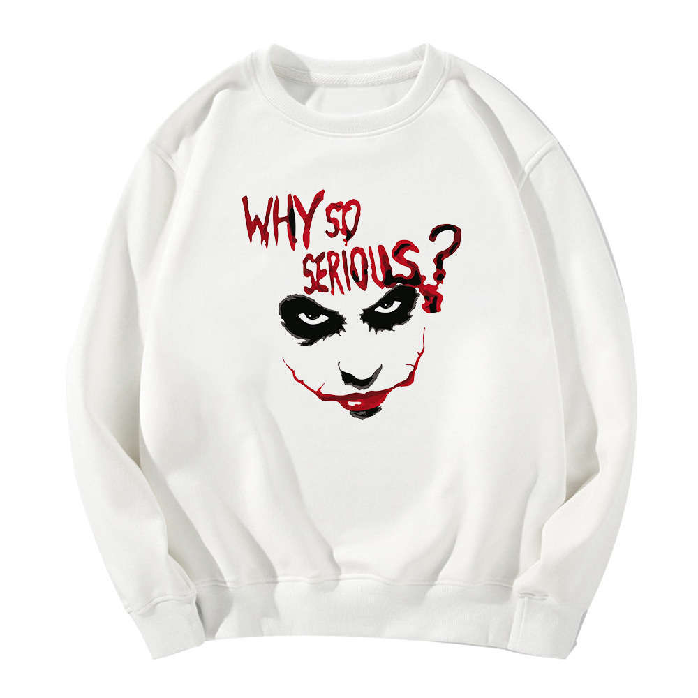 Why So Serious Sweatshirt Funny Vogue Casual Hoodies Joker Autumn Winter Long Sleeve Bluza Damska Funny Vogue Casual Loose