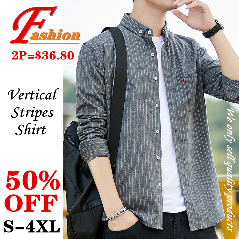 High-end Cotton Men's Vertical Stripe Casual Shirt Soft Breathable Comfortable Crease Proof Colorfast Anti-Pilling Plus-size