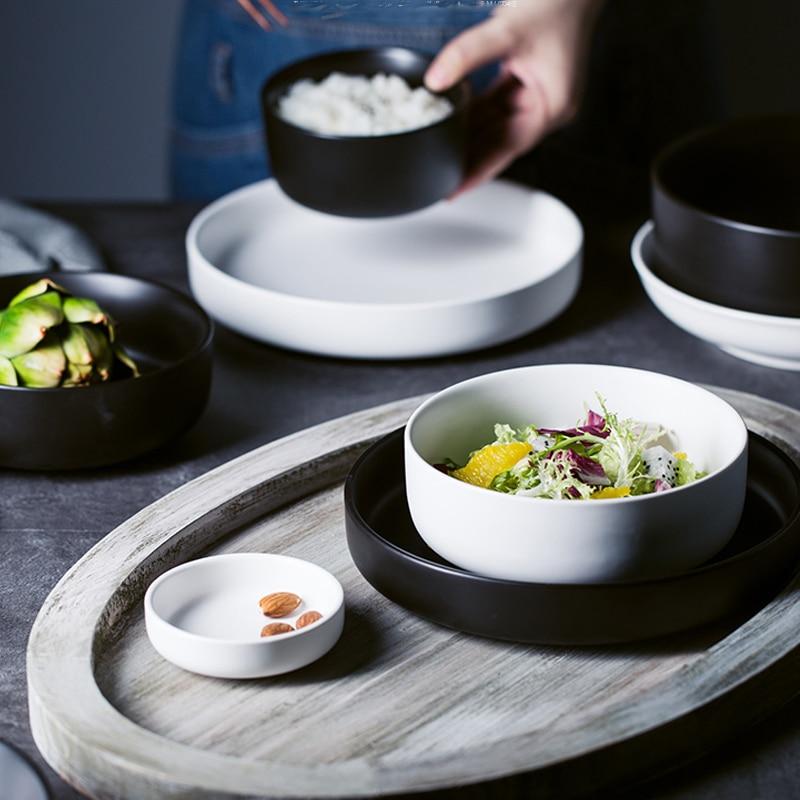 MUZITY assiettes en céramique avec bols   Service de vaisselle en porcelaine, plats ronds et bols à soupe