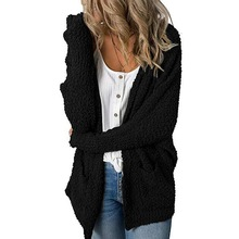 2019 Autumn New Women Casual Loose Cardigans Coat with Pockets Hooded Jacket Cute Sweet Women Long Knit Cardigan Top Knitwear
