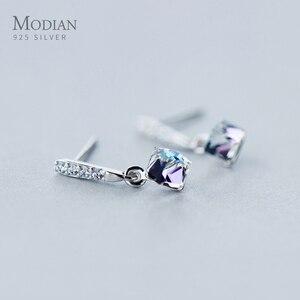 Modian New Arrive 100% 925 Sterling Silver Square Rainbow Crystal Drop Earrings For Women Dangle Ear Fashion Silver Jewelry