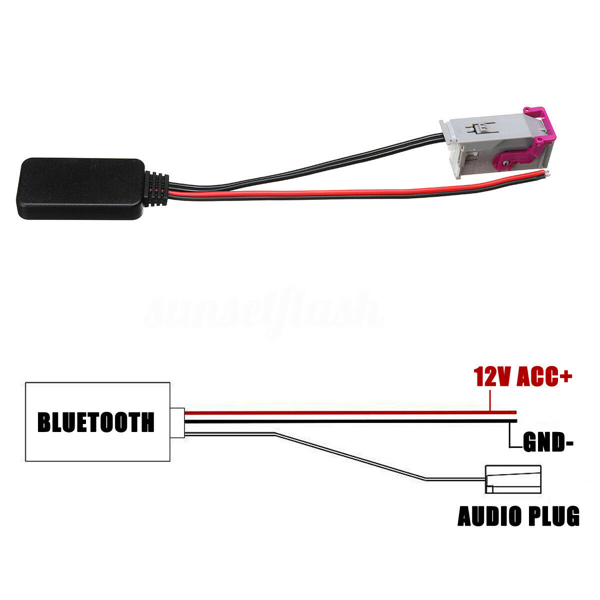<font><b>32</b></font> <font><b>Pin</b></font> <font><b>Adapter</b></font> RNS-E Host For Audi A3 A4 A6 Aux Cable Bluetooth Audio Receiver image