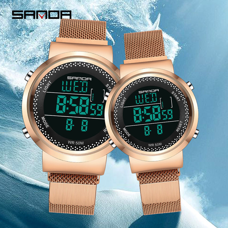 Sanda New Watches Rose Gold Luxury Wrist Watch For Men And Women Multifunctional Digital Waterproof Milanese Strap Couple Watch