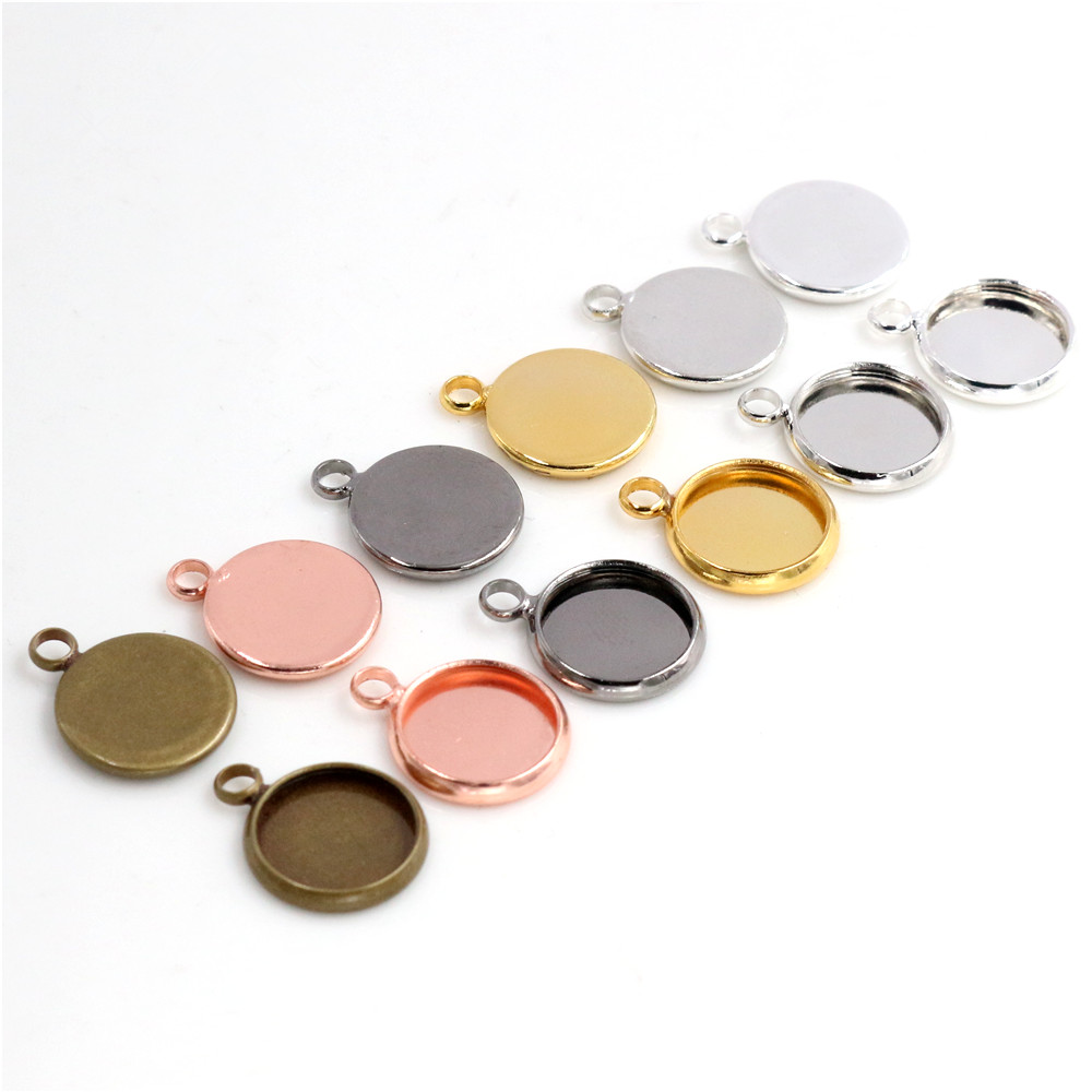 10mm 20pcs Brass Material 6 Colors Plated Cameo Setting Base Cabochon Setting Connector High Quality