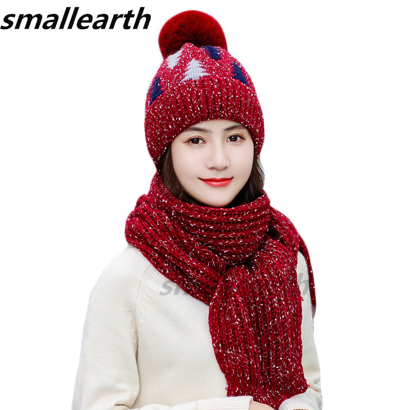 2019 Thick Knitted Winter Hat Scarf Set Women Plus Velvet Beanies Scarf Set Female Plush Warm Winter Accessories Girls Caps Sets