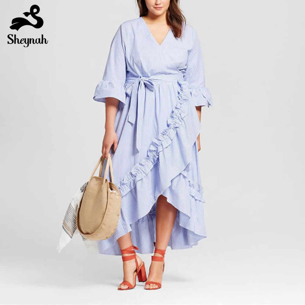 Big Size 5xl 6xl Maxi Stripe Dress Plus Size Loose Princess Vestidos V-neck 3/4 Petal Sleeve Ruffles-ear Asymmetric Chic Dresses