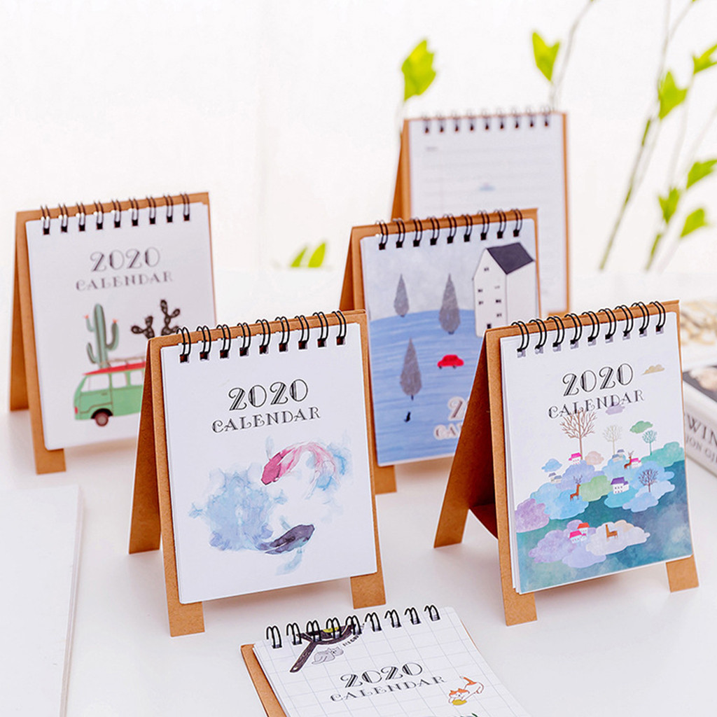 2020 Cute Cartoon Mini Table Desk Calendar Memorandum Plan Calendar Planner Book Table Desk Calendar Agenda Organizer
