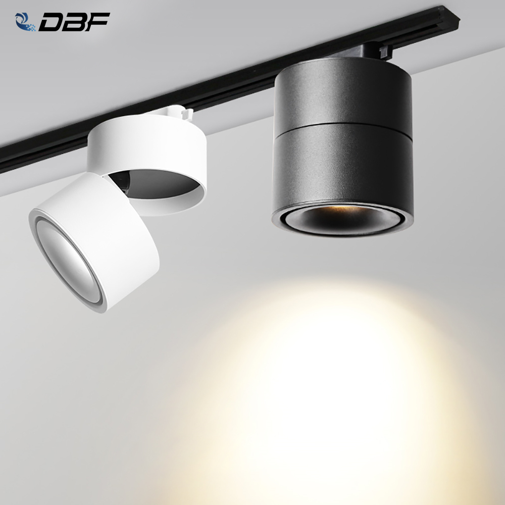 [DBF]15W 12W 10W 7W Rail Track Fixture COB Dimmable Rail Spotlight LED Track Light AC85-265V Black/White Guide Rail Track Light