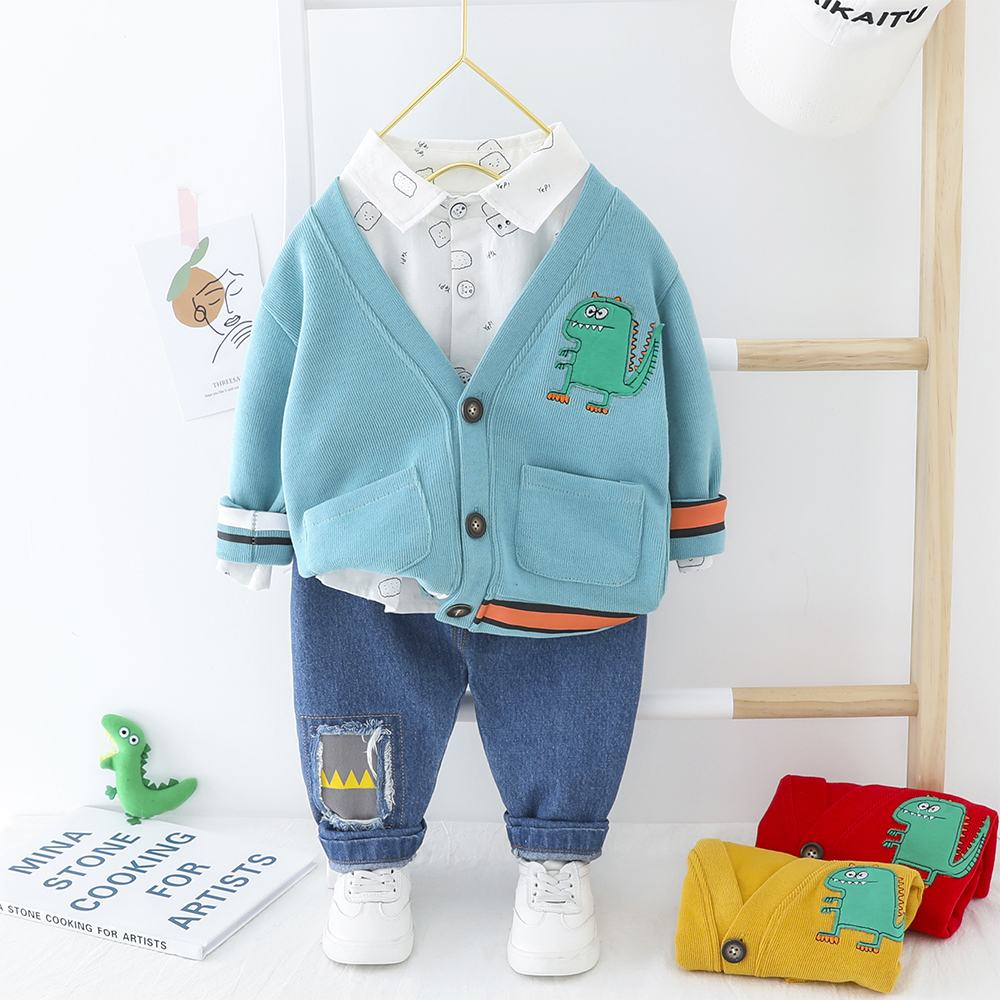 Toddler Boy Clothes Casual Dinosaur 3 PCS Jacket + Printed Shirt + Jeans Kids Spring Clothes 1-4 Years 3 Colors