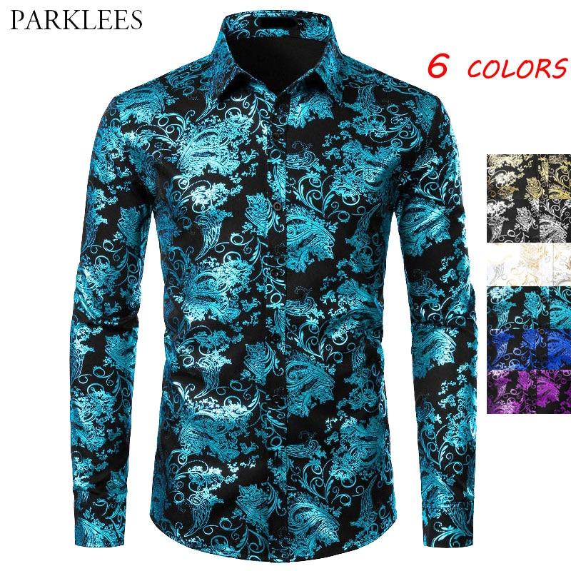 Floral Bronzing Men Shirt Luxury Shiny Paisley Flower Mens Shirts Fashion Casual Mens Party Shirts Dance Prom Men Camisas Hombre