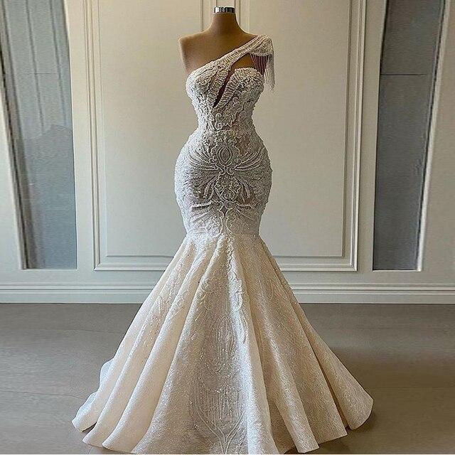 One Shoulder Mermaid Wedding Dresses Beaded Crystal Lace Applique Tassel Bridal Gown for Wedding Party vestidos de novia 1