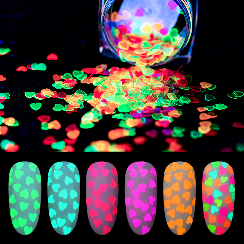 Neon Phosphor Holographic Fluorescent Nail Glitter Powder Sequins UV Gel Polishing Nails 3D Nail Art Decoration Glow In The Dark