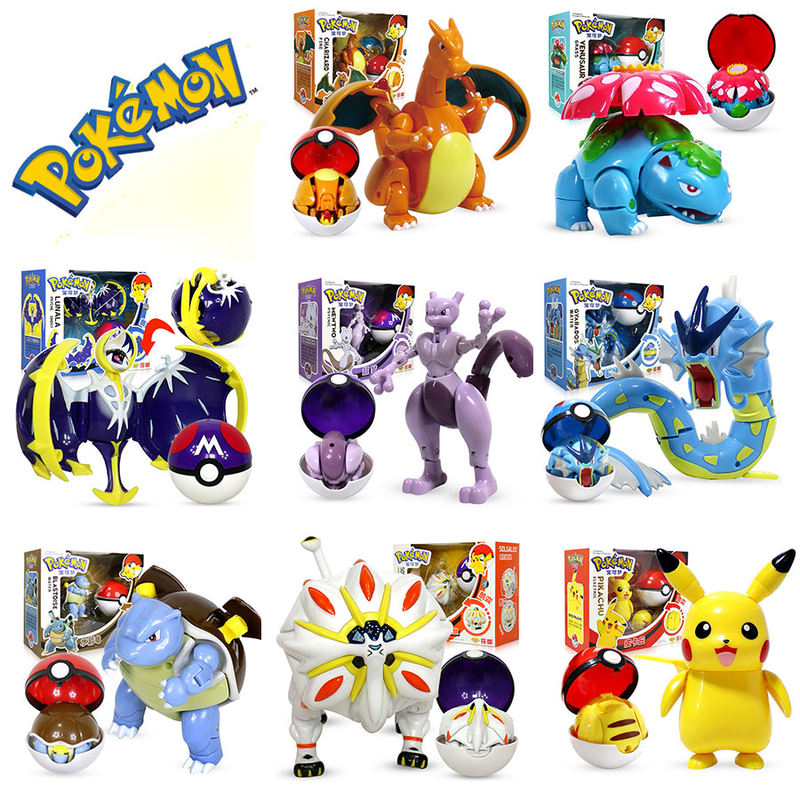 2020 new Figure Pokemon Pikachu Charizard Gyarados Blastoise toy Pokemon Pocket Elf Ball Manual Deformation Robot Elf Baby Set