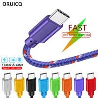 Cable USB tipo C de nailon trenzado, 1M, 2M, 3M, sincronización de datos, carga rápida, para Samsung S9, S10, Xiaomi mi8, Huawei P30, tipo-c