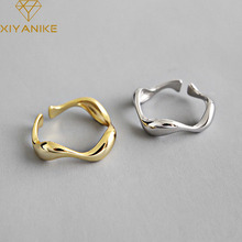 XIYANIKE 925 Sterling Silver Simple Irregular Wave Opening Rings For Women Engagement Weddings Gold Silver Geometric Jewelry
