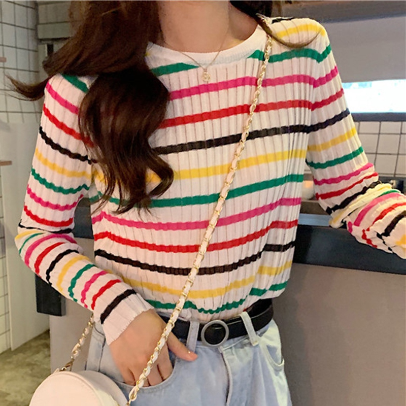 Rainbow Striped Sweater Women Autumn New Slim fit Pullover Sweaters Student Wild Knitted Jumper Top Soft Warm Female Sweater