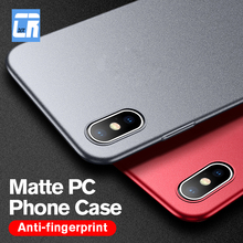 все цены на Ultra-thin PC Matte Phone Case for iPhone X 7 8 6S Plus Frosted Hard Back Cover for iPhone XR XS Max Shockproof  Protective Case