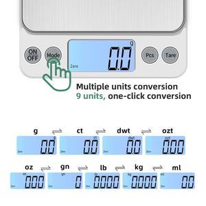 Image 3 - KUBEI قابلة للشحن أكبر حجم 5 كجم 0.1 جرام/10 كجم 1 جرام مقياس المطبخ الإلكترونية للأغذية القهوة مجوهرات الدقة LCD مقياس رقمي