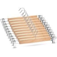 Cabides de saia de madeira com grampos ajustáveis (pacote de 10) cabide de calças antiderrapantes acabamento natural calças de madeira de lótus cabides, 360 °
