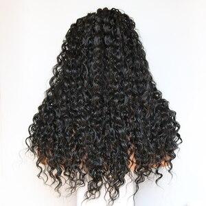 Image 5 - Парик Фэнтези Бьюти 180% из плотного клея, предварительно выщипанные на шнуровке Передние синтетические волосы, вьющийся парик, Термостойкое волокно с детскими волосами