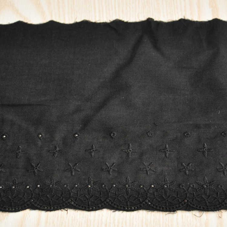 15.5CM Breed Mooie Zwarte Katoenen Kant Stof Borduurwerk Trim Lint Guipure Appliques Voor Jurken Kleding DIY Naaien Leveringen