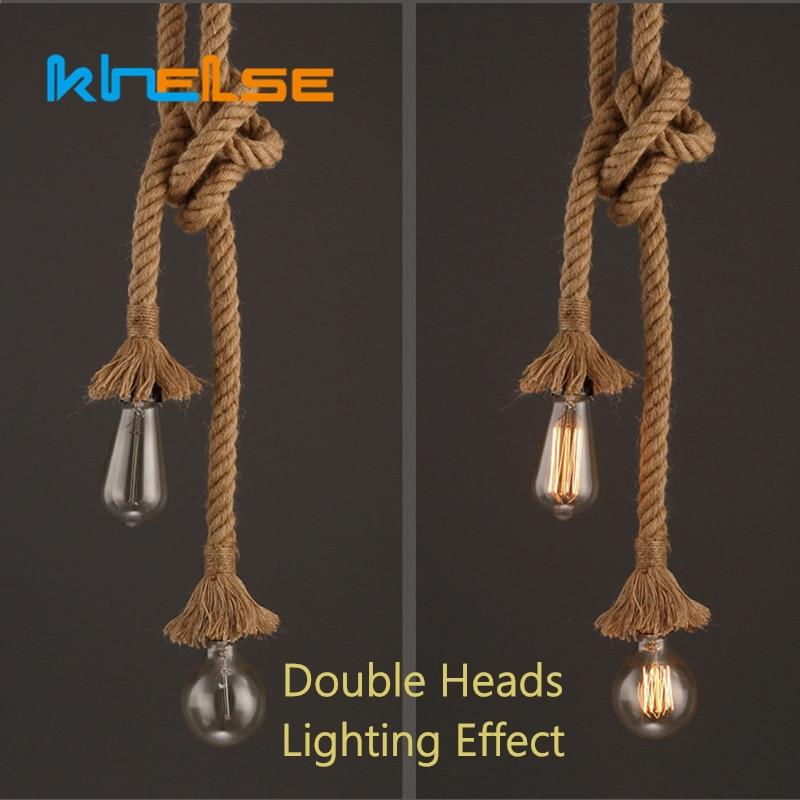 1//2//3M E27 Industrial Pendant Lamp Retro Vintage Hemp Rope Ceiling Light Decor