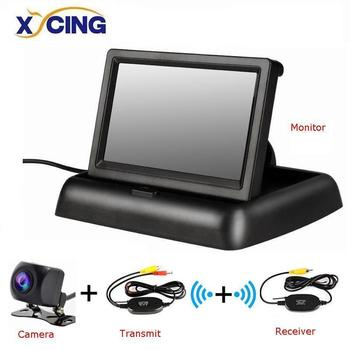 XYCING 4.3 Inch Wireless TFT LCD Car Monitor Foldable Monitor Display Reverse Camera Parking System for Car Rearview Monitors image