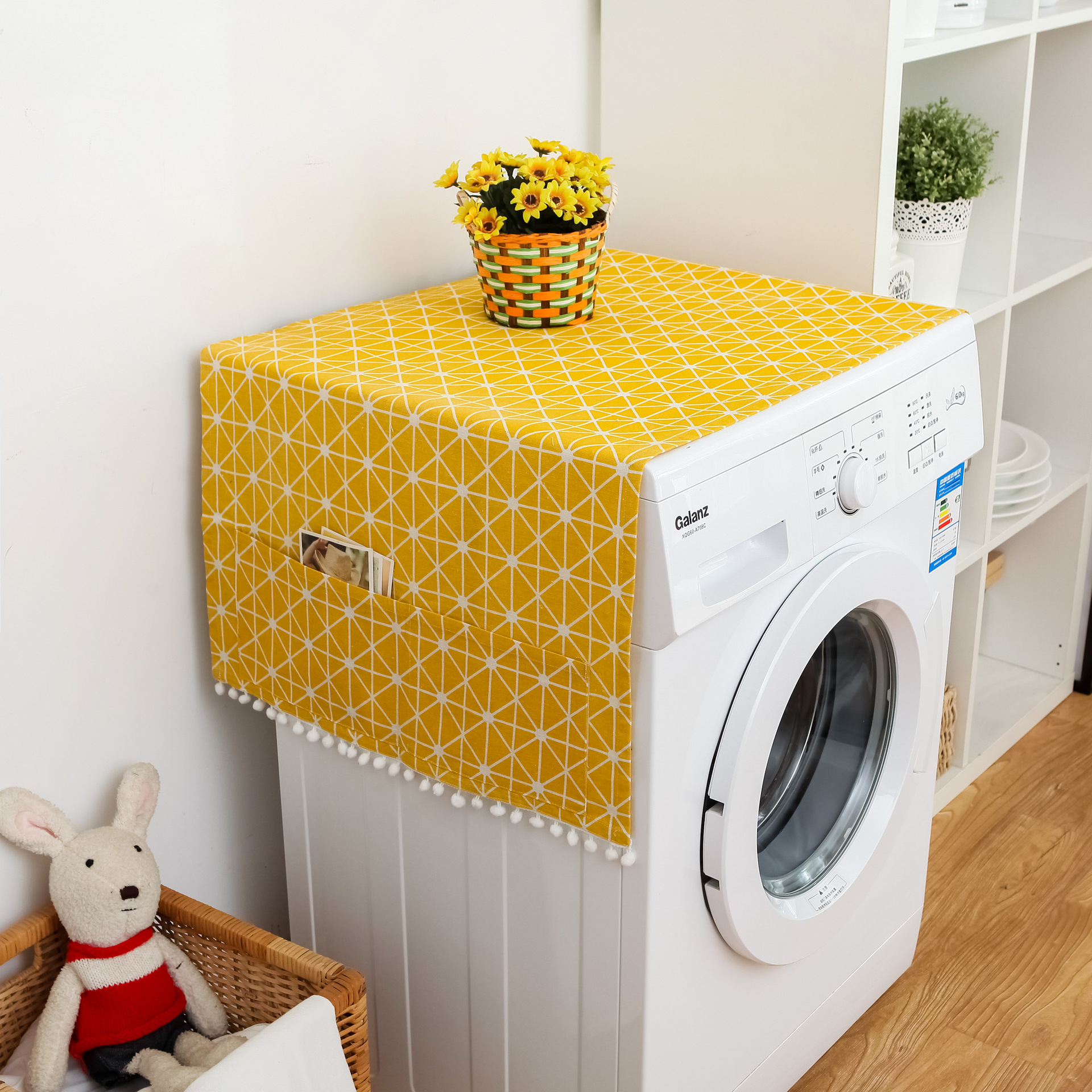 Washing Machine Cover With Pocket Home Geometric Refrigerator Cloth Pastoral Microwave Oven Dust Proof Cover