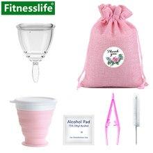 Menstrual Cup mit Sterilisator Zeitraum Lady Tasse Wischen Pinsel Fall Leck-beweis Medizinische Grade Silikon Frauen Feminine Hygiene Größe S L