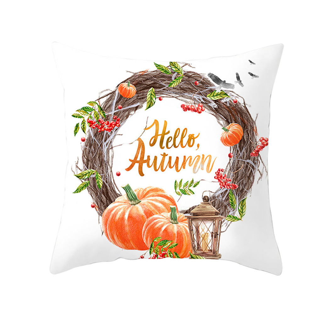 Original ISHOWTIENDA Fall Halloween Pumpkin Pillow Case Waist Throw Home Dropshipping 20