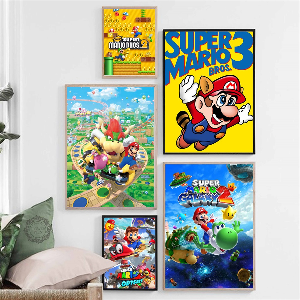 Super Mario Video Game Hot Art Painting Silk Hd Print Painting Modern Printing Type Canvas Poster Wall Home Decor Bilder Tableau Painting Calligraphy Aliexpress