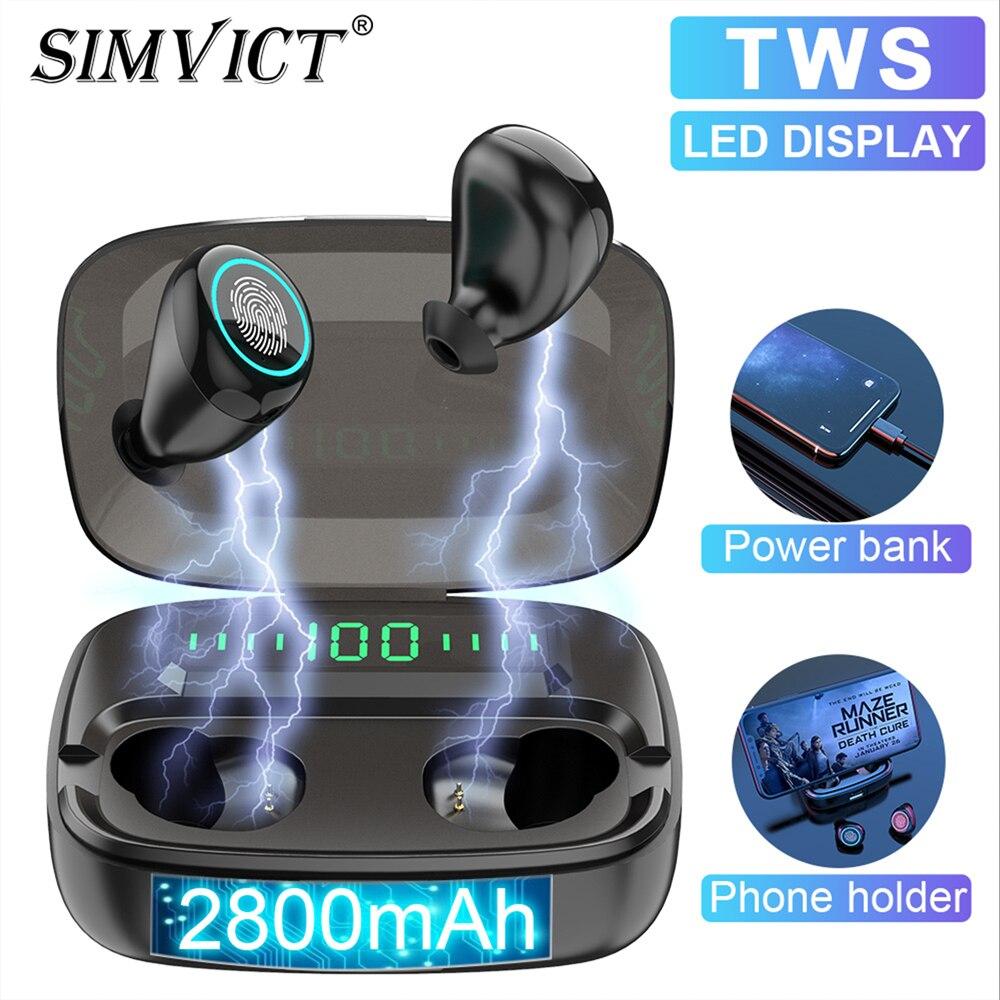 Simvict M5 TWS 5,0 Bluetooth наушники вкладыши беспроводные наушники стерео бас гарнитура светодиодный держатель для телефона 2800 мАч Внешний аккумулят...