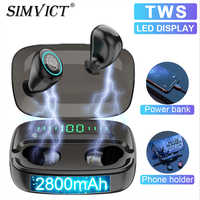 Simvict M5 TWS 5.0 Bluetooth Earphones In-ear Earbuds Wireless Headphone Stereo Bass Headset LED Phone Holder 2800mAh Power Bank