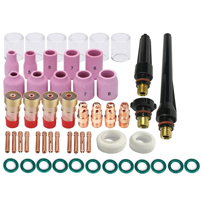 53Pcs TIG Welding Torch Stubby Gas Lens 10 Pyrex Glass Cup Kit Accessories for DB SR WP-17 18 26 TIG Welding Torch